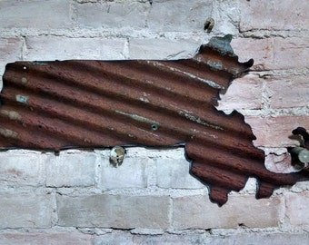 You pick the state! -Corrugated metal state outline wall decor -