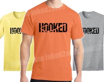 Hooked fishing fish fisherman tshirt shirt funny humor gift