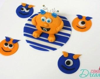 Fondant Monster Cake Topper, Fondant Monster Cake Decoration, Fondant Monster Cupcake Toppers, Monster Cake & Cupcake Toppers, Monster Party
