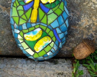 Tiki Tim - Comically Creepy Zombie Mosaic Art Stone - Stained Glass & Salvaged Lampwork Beads on Stone Substrate - OOAK