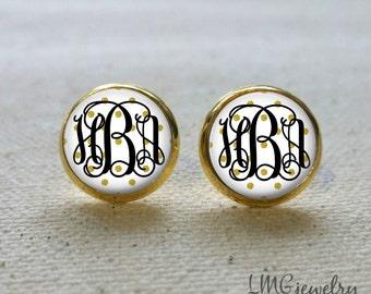 Gold Monogram Earrings, Gold Polka Dot Earrings, White and Gold Earrings, Monogram Stud Earrings