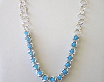 Swarovski Captured Pearl Necklace, Captured Pearl Necklace, Chainmail Swarovski Pearl Capture Necklace, Captured Pearl Necklace Bracelet