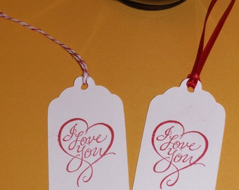 20 3 inch scalloped I love you heart tags for weddings, showers, favor bags, gifts.