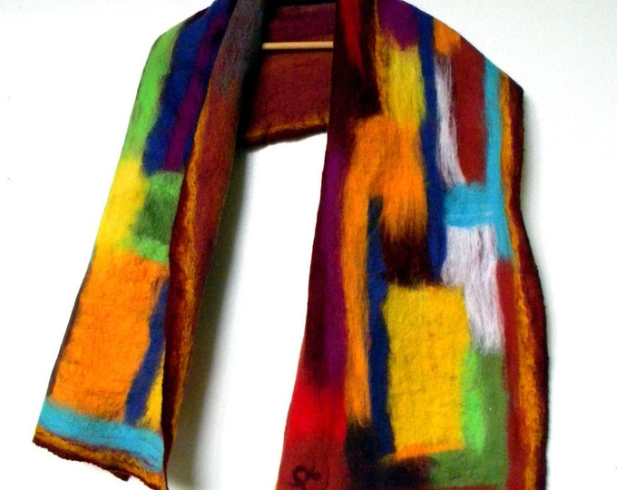 Women Nunofelt scarf Burgundy shawl Spring scarves Felted wool scarf Autumn shawl Art to wear Abstract women scarf moms gift for her
