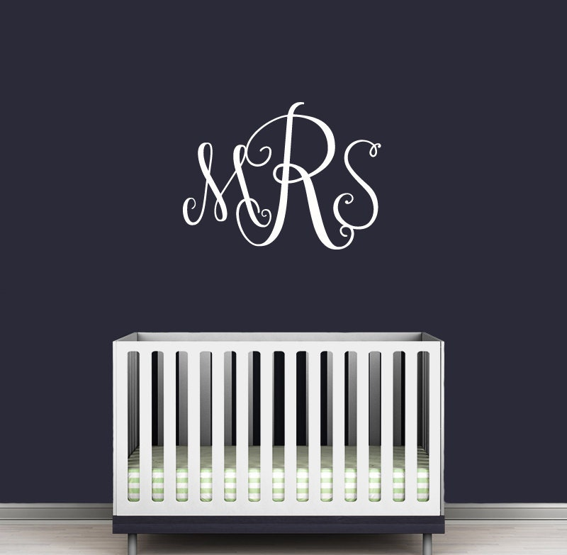 Wall Decals In Dorms : Monogram wall decal personalized initials college dorm