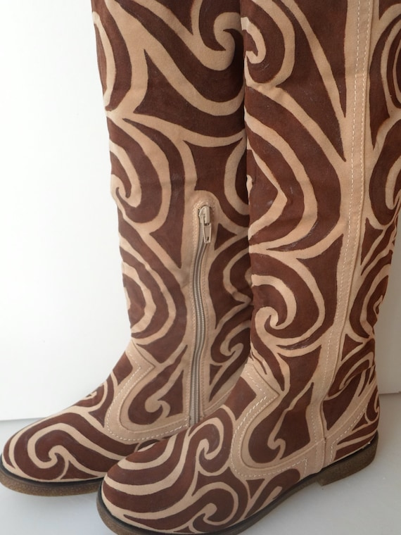 faux suede boots painted with a brown by