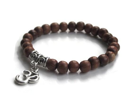 wood bead bracelet ohm bracelet mens bracelet wooden beaded. Black Bedroom Furniture Sets. Home Design Ideas