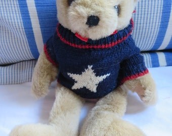 Vintage Patriotic Blonde Teddy Bear with Red, White and Blue Star Sweater