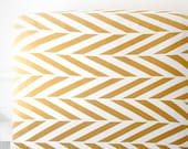 Woolf With Me® Fitted Crib Sheet in White and Gold Herringbone