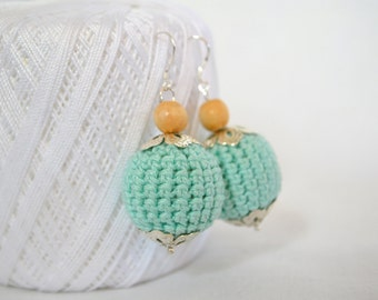 Unique gifts for her Crochet Earrings Mint Wooden beads earrings Statement jewelry Eco friendly jewerly Mother Day gift Woodland style