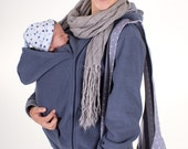 Carrying sweater for mom and baby gray blue