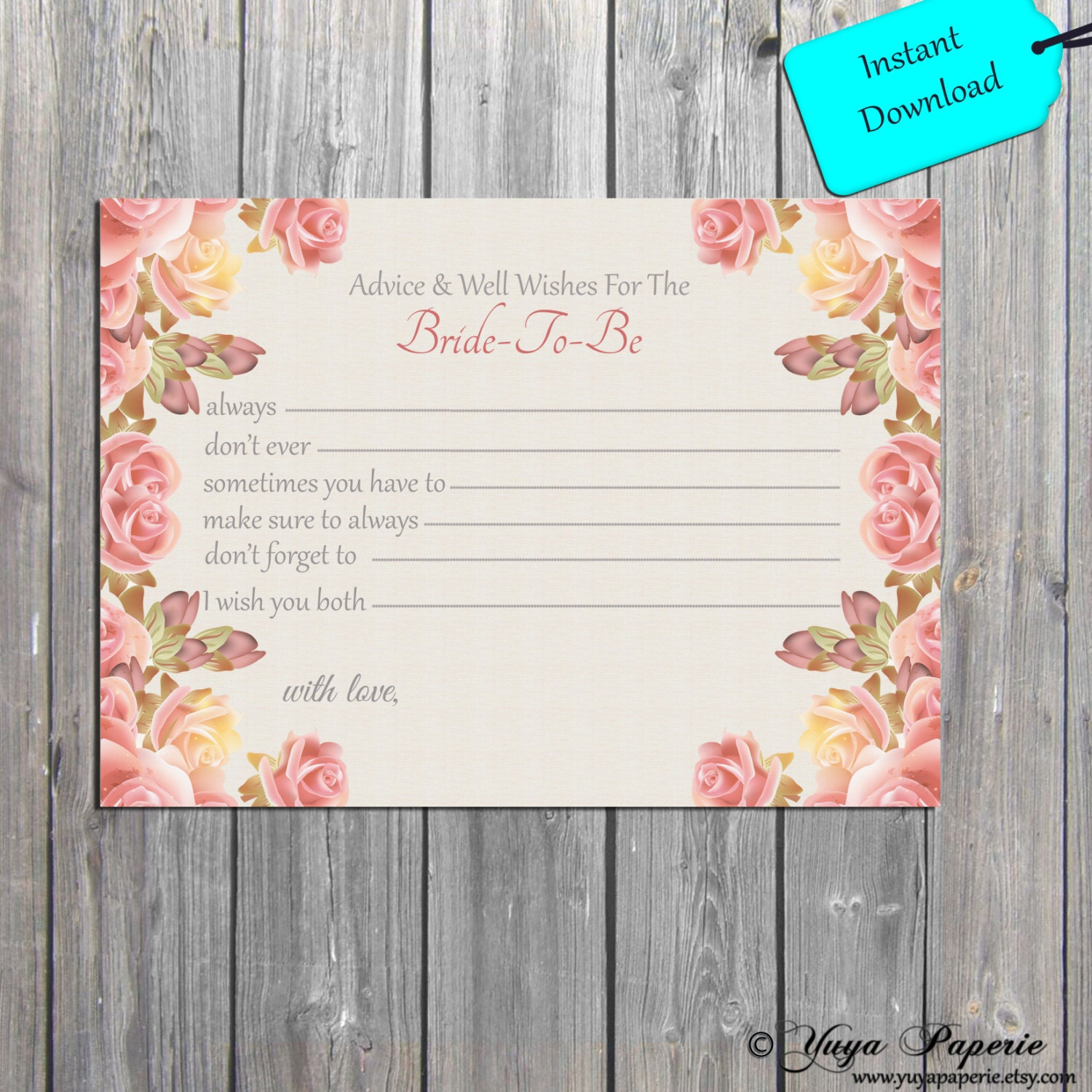antique flowers bride to be well wishes instant digital