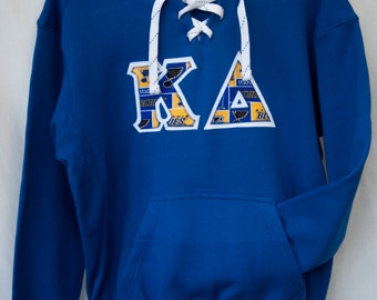 Royal Hockey Hood Sweatshirt With Blues  Print On White (A)