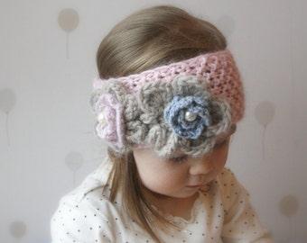 KNITTING PATTERN simple headband Kendra with crochet flowers (newborn, baby, child, adult sizes)
