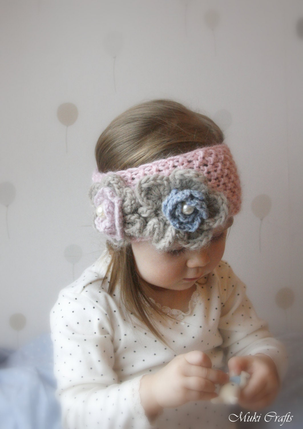Knit Headband Pattern With Crochet Flower : KNITTING PATTERN simple headband Kendra with crochet flowers