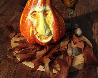 Hand Carved Foam Gourd Fall Decoration With Smiling Face