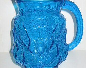 Pressed Glass Pitcher Mid Century Royal Blue