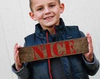 Nice christmas card prop, christmas photo prop, christmas sign, naughty and nice