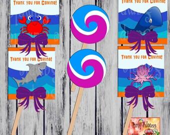 Printable Under the Sea Lollipop cover