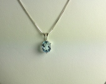 "Blue Topaz Sterling Silver Pendant with 18"" Sterling Silver Chain Included"