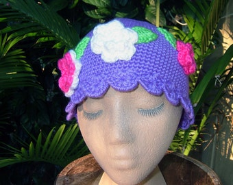 Cute Crochet Hat for teen girls , Purple Skullcap Beanie  , Crochet Flower Hat , Girls Beanie with Flowers