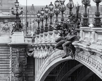 Pont Alexandre III, Paris, Bridge, Seine River, French Architecture, Black and White, France - Travel Photography, Print, Wall Art