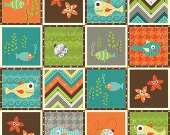 Fish Quilt Fabric, Henry Glass Here Fishy Fishy 6106 Heather Mulder Peterson of Ankas Treasures, Baby Quilt Fabric, Children's Cotton Fabric
