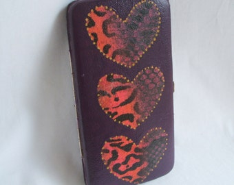 Upcycled wallet - heart wallet. Oversize purple wallet - vegan wallet. Faux snakeskin wallet. Small purple clutch purse