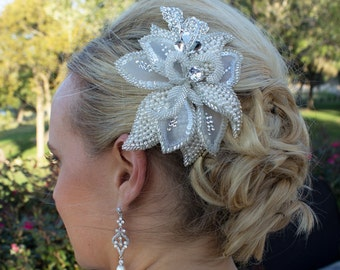 Wedding Head Piece, Ivory Beaded Fabric Hair Flower with Bugle Beads, Bridal Headpiece, Bridal Comb Clip, Wedding Accessories 205806782