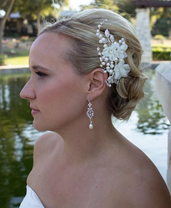 peigne de fleur strass ivoire mariage cheveux accessoires. Black Bedroom Furniture Sets. Home Design Ideas