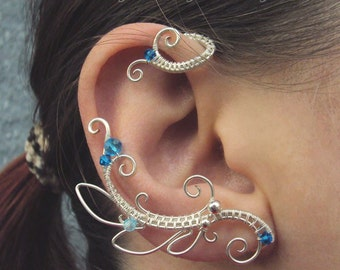 Pair of wire wrapped ear cuffs Neptune