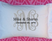 Wedding Gift, Monogram Gift, Personalize Pillow, Pillowcase, Personalize Gift, Christmas Gift, Personalize Wedding Gift