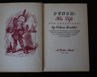 """1946 First Edition Hardcover """"Punch: His Life and Adventures"""" by Otave Feuillet Translated by Paul McPharlin"""