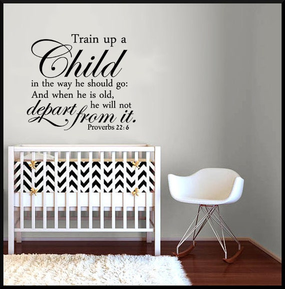 Wall Decor For Church Nursery : Nursery wall decor train up a child proverbs by momswalldecal