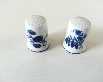 SALE! Pair of vintage porcelain thimbles - blue - white