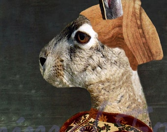 MEDIEVAL PORTRAIT of a RABBIT digital art print anthropomorphic altered bunny mixed media surreal collage fairy tale image fantasy hare