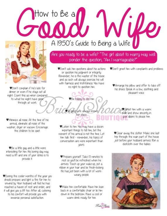 1950u0027s how to be a good wife bridal shower game pink fun detailed