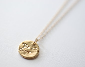 Gold Dandelion Necklace- Make a wish, Gold Disc Necklace, Minimalist Necklace