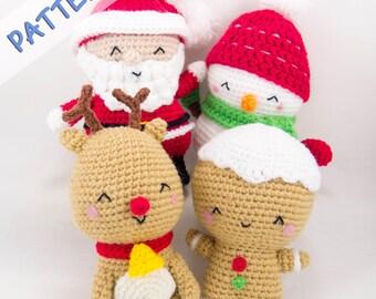 Crochet Christmas Patterns - Set of 4 (Snowman, Gingerbread Man, Reindeer, Santa)  -- Christmas Amigurumi Patterns - Crochet Holiday Pattern