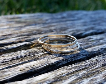 Gold Hammered Ring, Silver Hammered Ring, Thin Hammered Ring, Stack Ring Set, Stacking Ring Set, Stack Rings, Stack Ring, Stack Ring Set