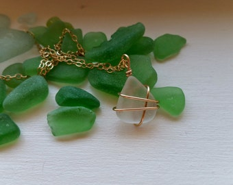 Wire Wrapped Sea Glass Necklace | Seaglass Necklace | Sea Glass Jewelry | Wire Wrapped Necklace | Seaglass Jewelry | Sea Glass Necklace