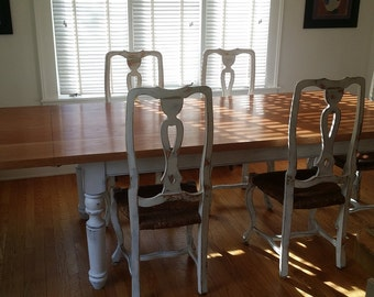 Thick Cherry Top Farm Table With Turned Legs And Extension Leaf