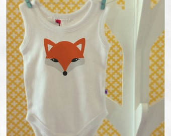 Cheeky Fox Baby Romper - Sleeveless - Choose your size