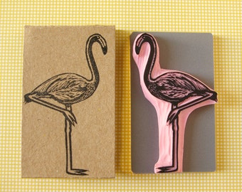 Flamingo rubber stamps, mounted stamp, bird stamp, tropical decor, hand carved stamp, summer decor