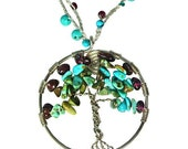 Tree of life pendant, turquoise necklace, garnet, boho necklace, fine silver, wire wrapped, round pendant, crochet beaded necklace