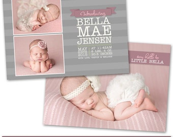 PSD Photoshop Template Newborn Birth Announcement Card Template - NC152
