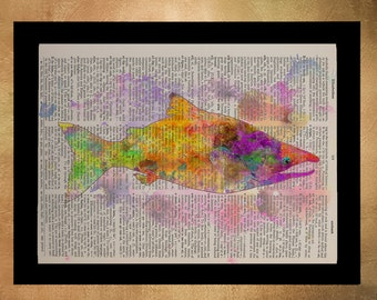 Salmon Watercolor Dictionary Art Print Orange Fish Marine Life Wall Art Home Decor Upcycled Book da674