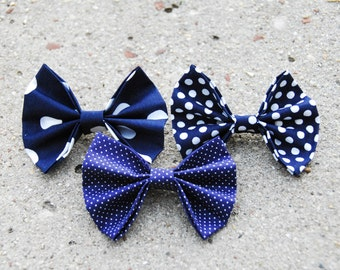 Set of 3 handmade navy blue and white polka dot fabric hair bow