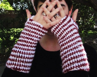 Candy Cane Fingerless Gloves
