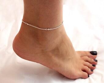 Sterling Silver Anklet Dots chain Anklet Bracelet Adjustable Anklet chain (A-13)